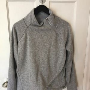 Athleta Cozy Karma Asymetrical Sweatshirt Gray